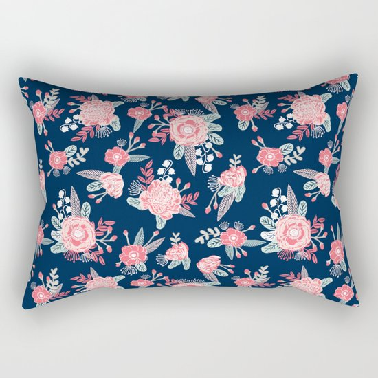 Florals navy coral pink blooms flower pattern girly trendy nursery baby Rectangular Pillow
