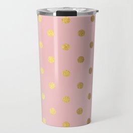 Gold polka dots on rose gold background - Luxury pink pattern Travel Mug