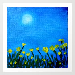 Handmade painting : yellow flowers under sun at Spring Season time Art Print