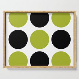 Mid Century Modern Polka Dot Pattern 9 Black and Chartreuse Serving Tray