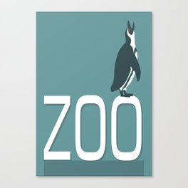 Zoo sign with penguin Canvas Print
