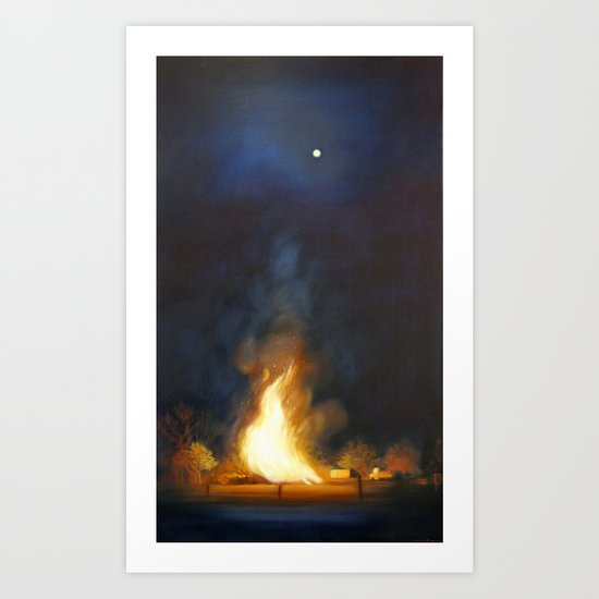 Bonfire at the Drift Art Print