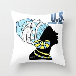BlackQueen (Blue) Throw Pillow