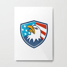 American Bald Eagle Head Looking Up Flag Crest Cartoon Metal Print