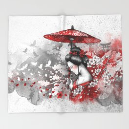 Falling blossoms Throw Blanket