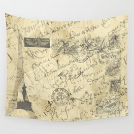 Parisian French Script Wall Tapestry