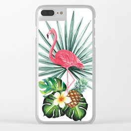 Tropical pattern with flamingo Clear iPhone Case
