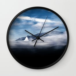 Mountains and fog. Landscape Wall Clock