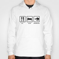 snowboard Hoodies featuring Eat Sleep Snowboard Mens Black Snowboarding T-Shirt WOW by jekonu