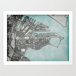Abstract Map - South Boston Art Print