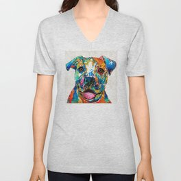 Colorful Dog Pit Bull Art - Happy - By Sharon Cummings Unisex V-Neck