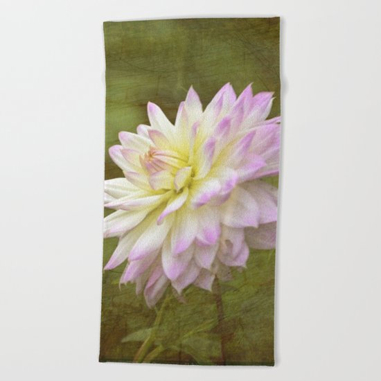 White Purple Dahlia Beach Towel