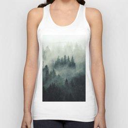 Misty pine fir forest landscape in hipster vintage retro style Unisex Tank Top