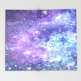 Grunge Galaxy Lavender Periwinkle Blue Throw Blanket