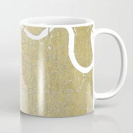 Gold on White London Street Map II Coffee Mug