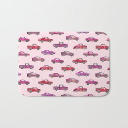 Little Toy Cars in Watercolor on Pink Bath Mat