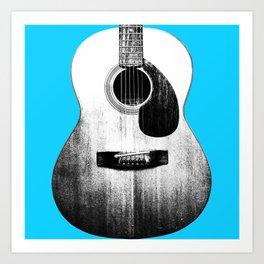 Guitar - Body, Blue Background Art Print