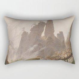 Caspar David Friedrich - Rocky Ravine in the Elbe Sandstein Mountains - Felsenlandschaft im Elbsands Rectangular Pillow