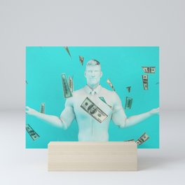 Easy Money and Cash with Happy Businessman Mini Art Print