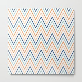 Chevron Pattern of Modern Geometric Stripes in Turquoise Blue Orange and Peach Metal Print