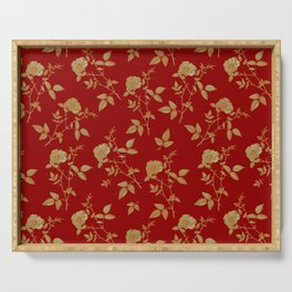 GOLDEN ROSE FLOWERS ON BURGUNDY Serving Tray