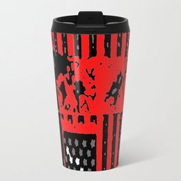 Lincoln in red with flag Travel Mug