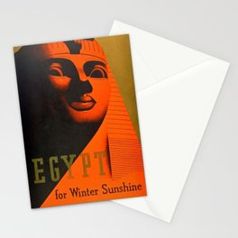 1930's Art Deco Travel Poster - Egypt for Winter Sunshine featuring Great Sphinx of Giza Stationery Cards