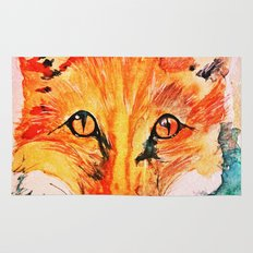 Watercolor Fox Cute Animal Portrait Painting Rug