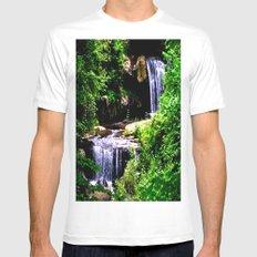 Chasing Waterfalls MEDIUM White Mens Fitted Tee