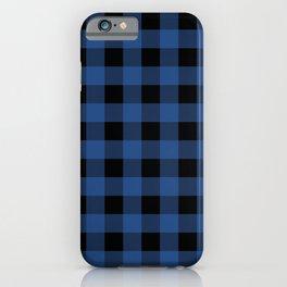 Buffalo Plaid Blue Black Lumberjack Pattern iPhone Case