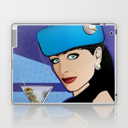 Beautiful Pop Art Girl with Martini and Stewardess Hat Laptop & iPad Skin