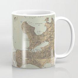 Vintage Pictorial Map of Boston Harbor (1879) Coffee Mug