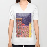 city V-neck T-shirts featuring City by Dawn Patel Art
