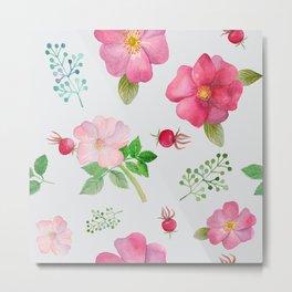 Rosehip Spring Garden Floral Pattern Metal Print