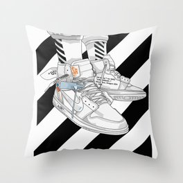 Jordan 1 Off White Poster Throw Pillow