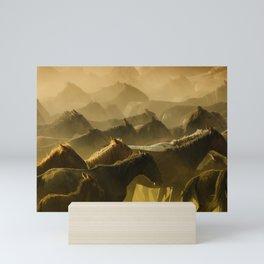 Herd of Wild Horses Running in Dust Mini Art Print