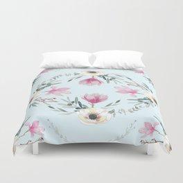 Floral Square Acqua Duvet Cover