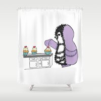baking Shower Curtains featuring Baking Buns by Gilly Bird Kids Boutique