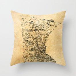 Old Minnesota Map Throw Pillow
