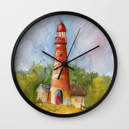 Red Lighthouse Wall Clock