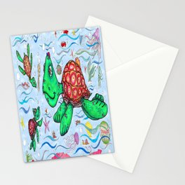 Sea Turtles and their diet Stationery Cards