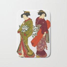 Vintage Japanese Geisha Girls Bath Mat