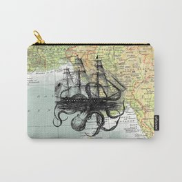 Octopus Attacks Ship on map background Carry-All Pouch