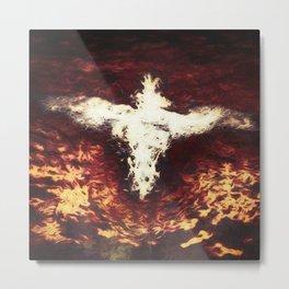 Fantasy artwork. Angel or Damon? Winged crature with crown. Metal Print
