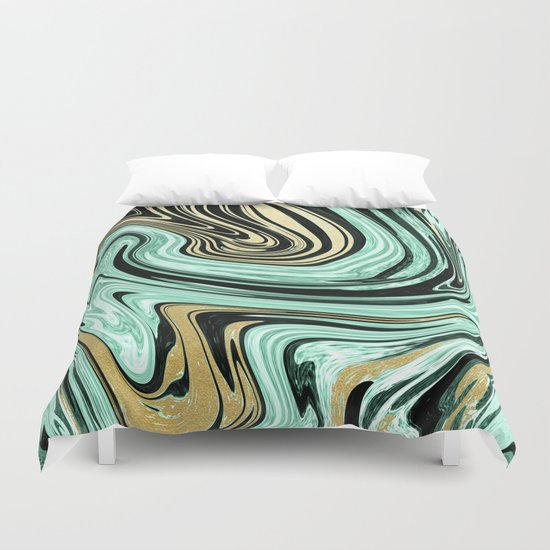 MARBELLOUS IN MINT AND GOLD Duvet Cover