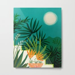 Tropical Moonlight / Night Scene Illustration Metal Print