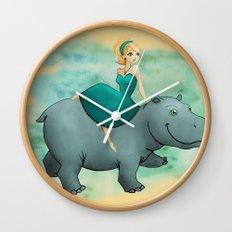 Lovely Hippo Wall Clock