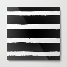 Black & White Paint Stripes by Friztin Metal Print