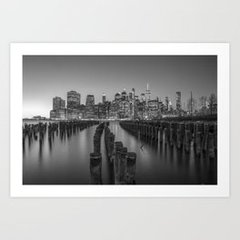 Brooklyn Waterfront in Black and White Art Print