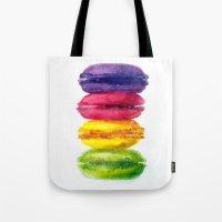 macaroons Tote Bags featuring Macaroons by AnaStasiaartdesign